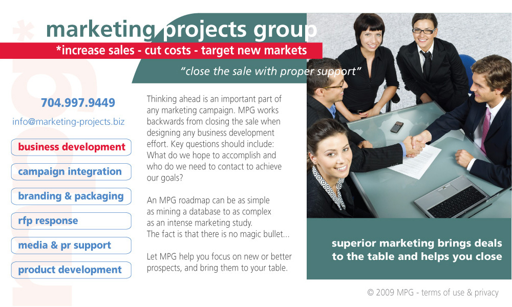 Marketing Projects Group Business Development