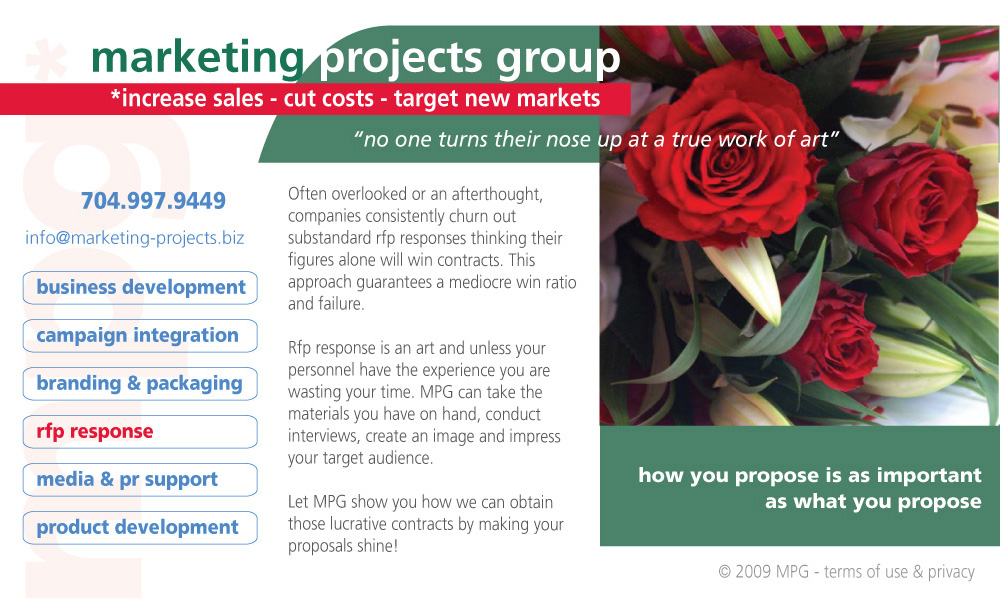 Marketing Projects Group RFP Response Writing, Editing and Production